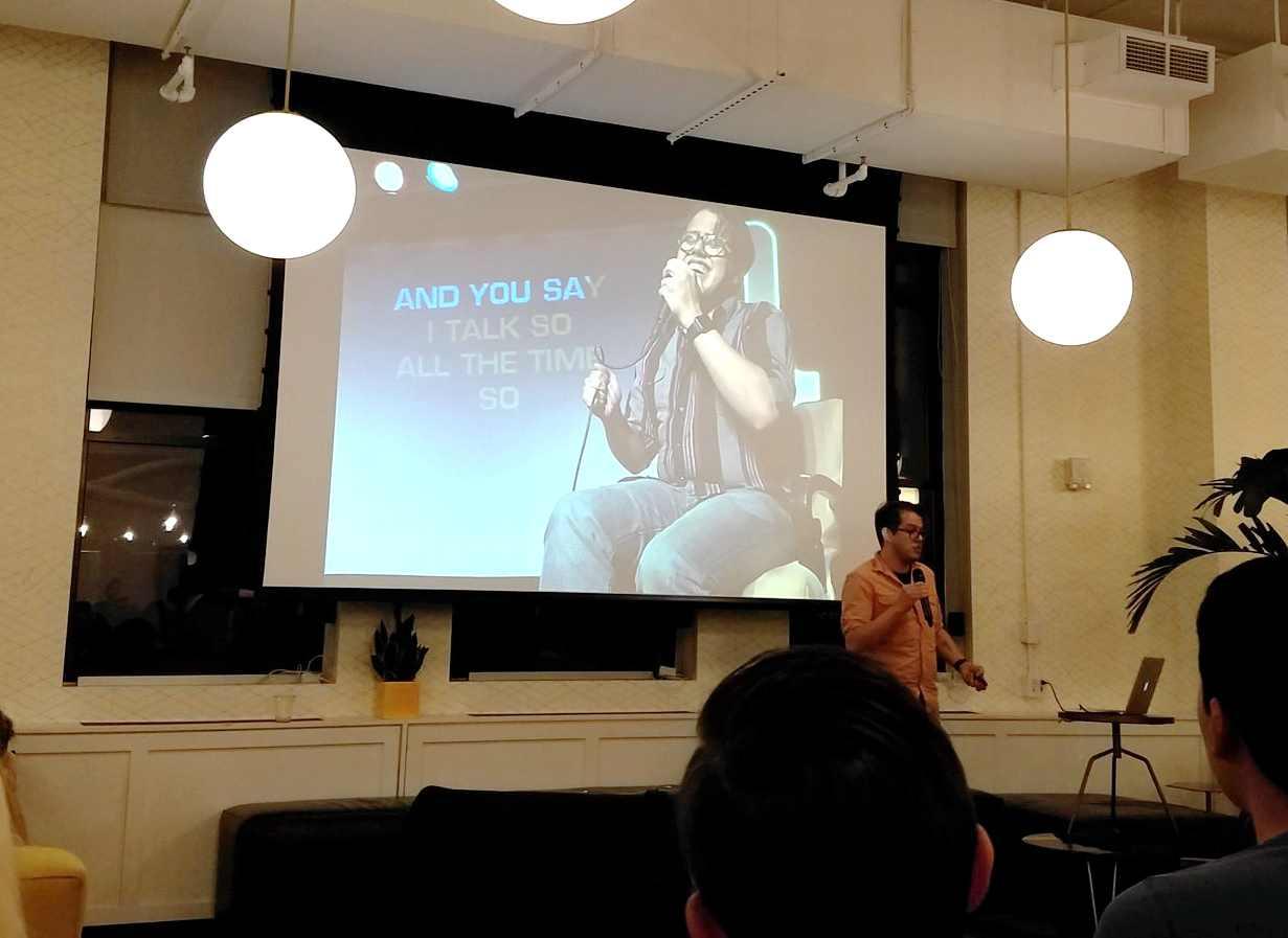 Justin giving talk at ManhattanJS